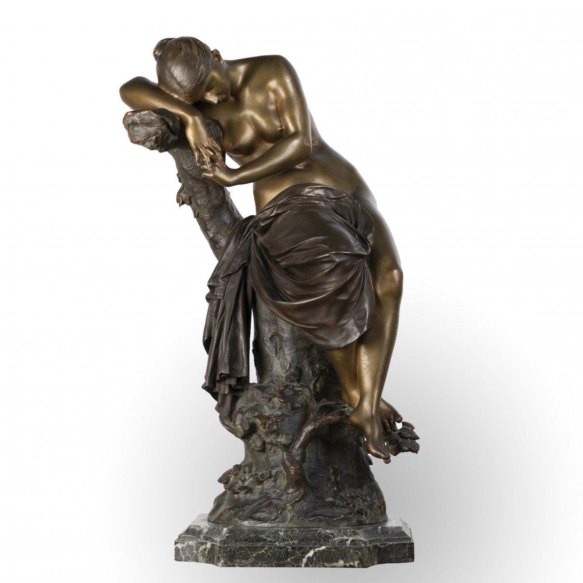 """A French 19th Century Bronze """"le Repos De Venus"""" Signed Lucas Madrassi (1849-1919)."""