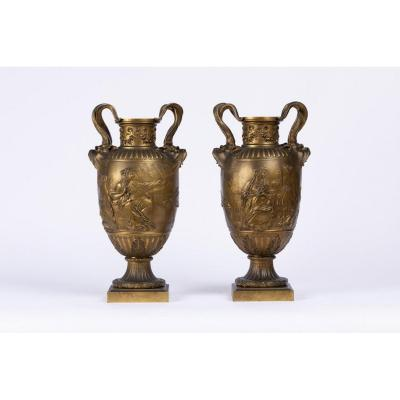 A Pair Of French 19th Century Renaissance St. Patinated Bronze Urns By Ferdinand Barbedienne