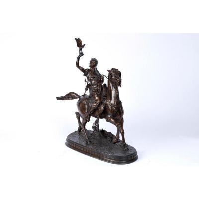 Bronze Orientaliste Du XIXe Siècle «le Fauconnier Arabe à Cheval» Par Pierre-jules Mêne