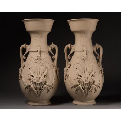 Pair Of 19th Biscuit Vases In Orientalist Style