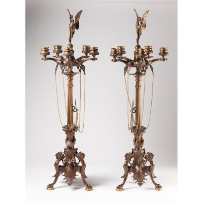 Belle Paire De Candélabres 19 ème De Style Renaissance En Bronze Signé F.barbedienne
