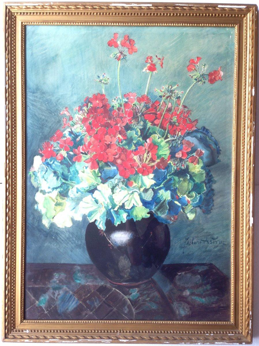 Zacharie Astruc (1833-1907) - Large Watercolor - Bouquet Of Geraniums-photo-2