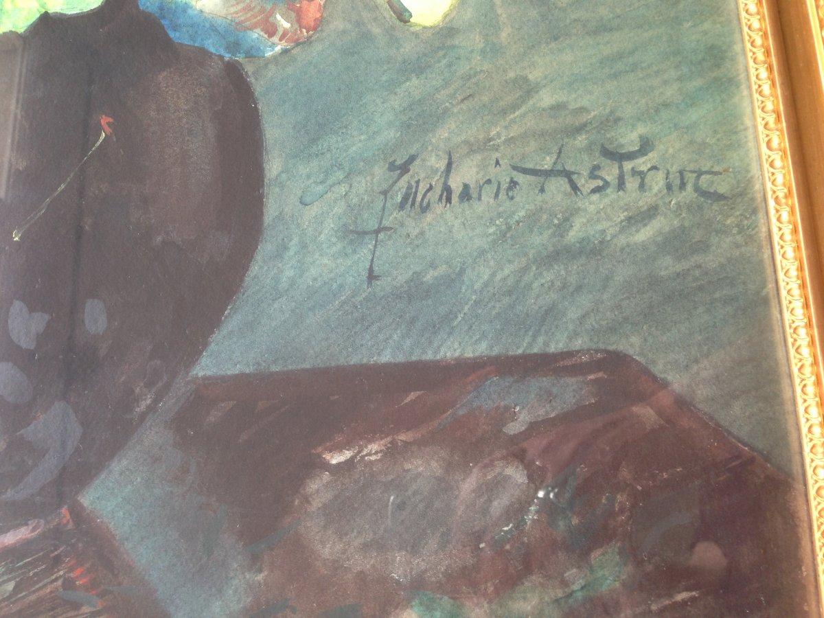 Zacharie Astruc (1833-1907) - Large Watercolor - Bouquet Of Geraniums-photo-3
