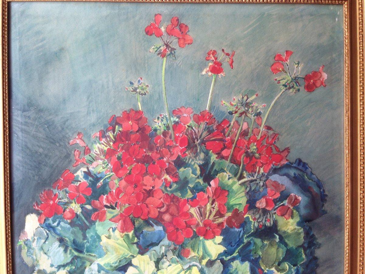 Zacharie Astruc (1833-1907) - Large Watercolor - Bouquet Of Geraniums-photo-4