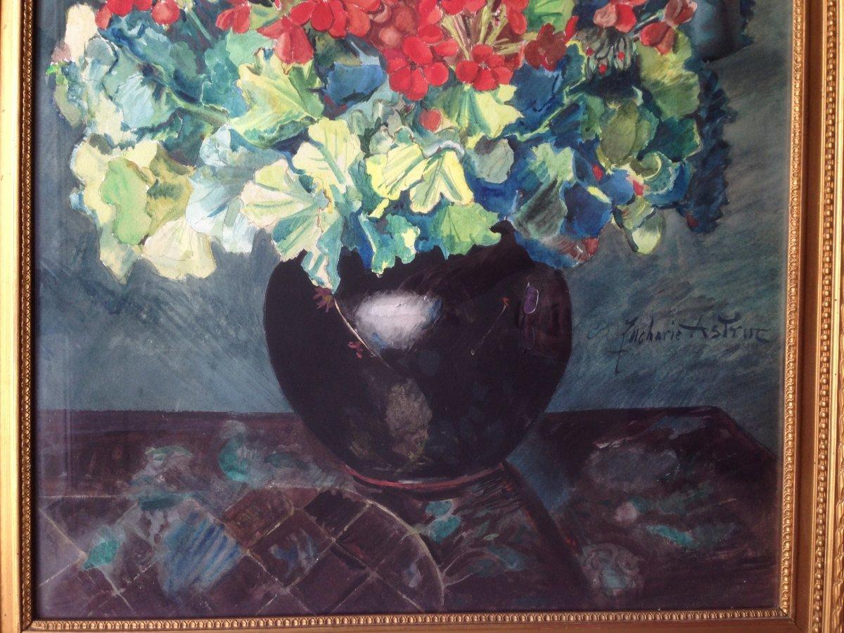 Zacharie Astruc (1833-1907) - Large Watercolor - Bouquet Of Geraniums-photo-1
