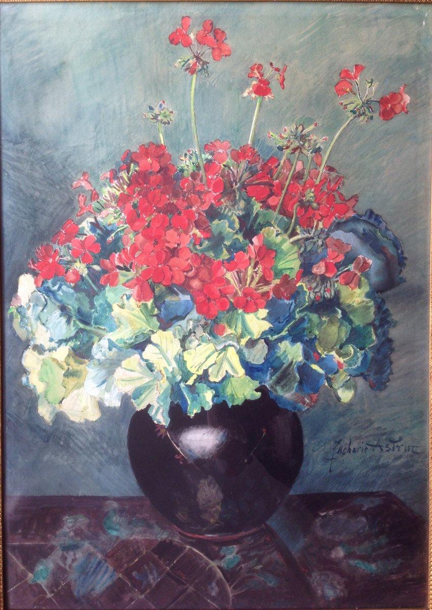 Zacharie Astruc (1833-1907) - Large Watercolor - Bouquet Of Geraniums