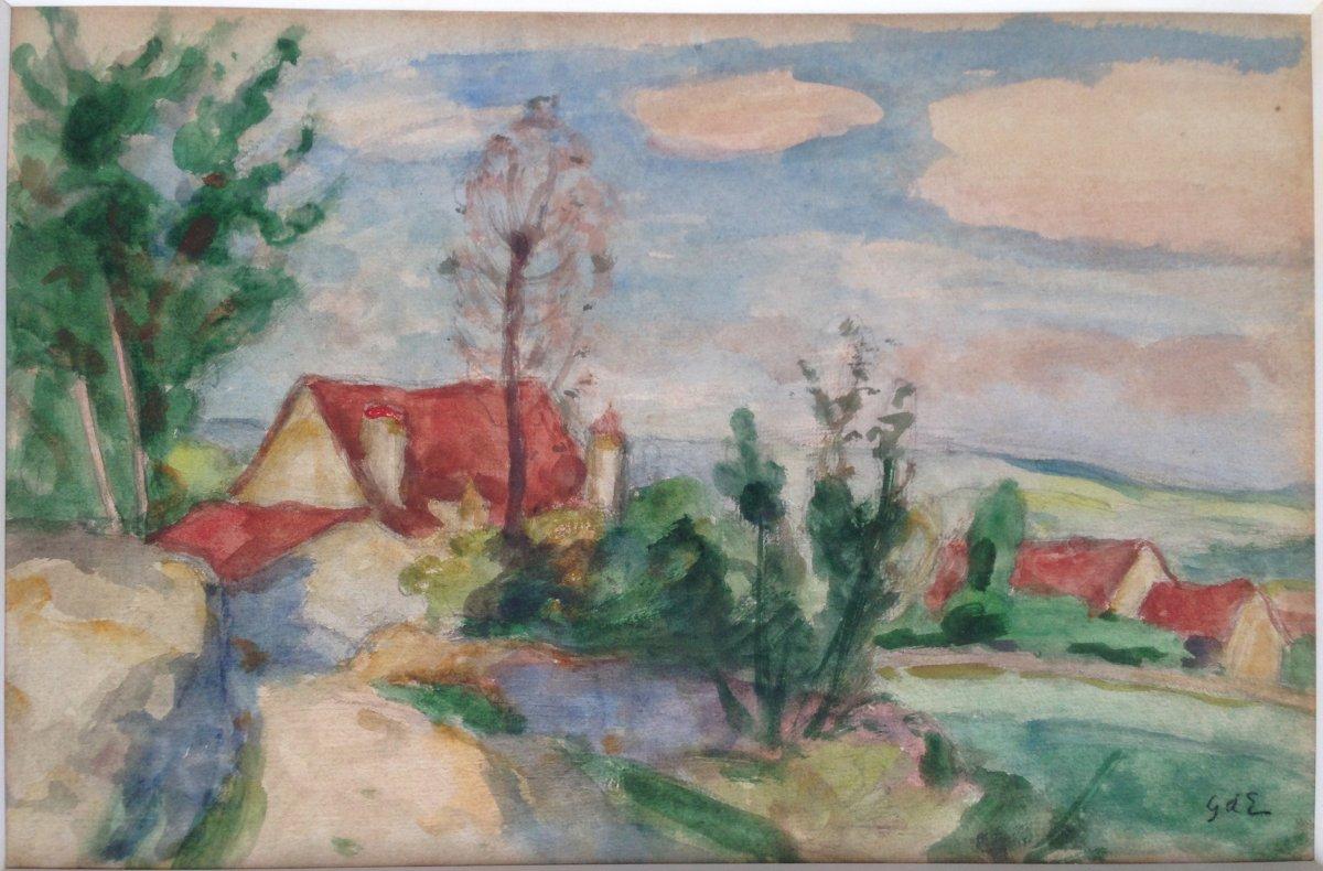 Georges d'Espagnat (1870-1950) - Southern Landscape - Watercolor