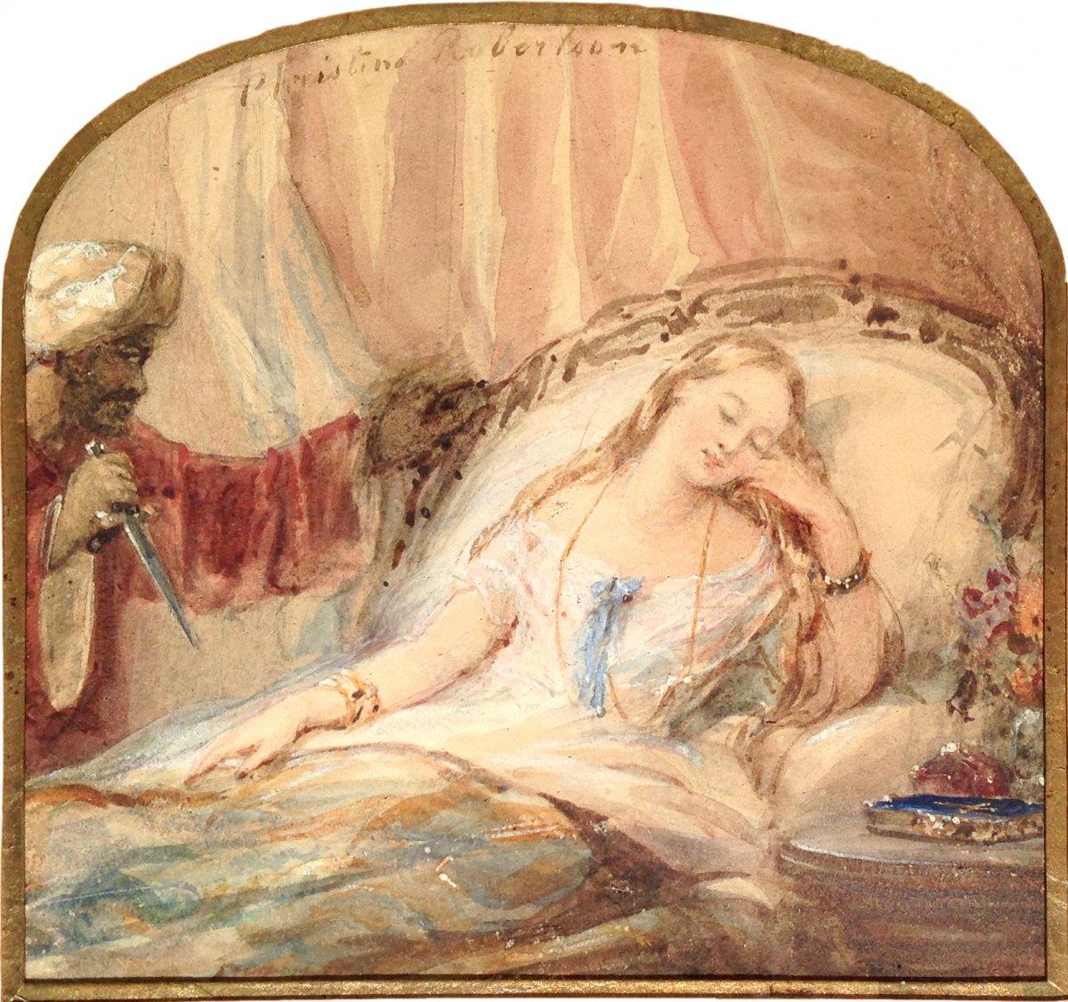 Christina Robertson (1796-1854) - Watercolor - Othello And Desdemona