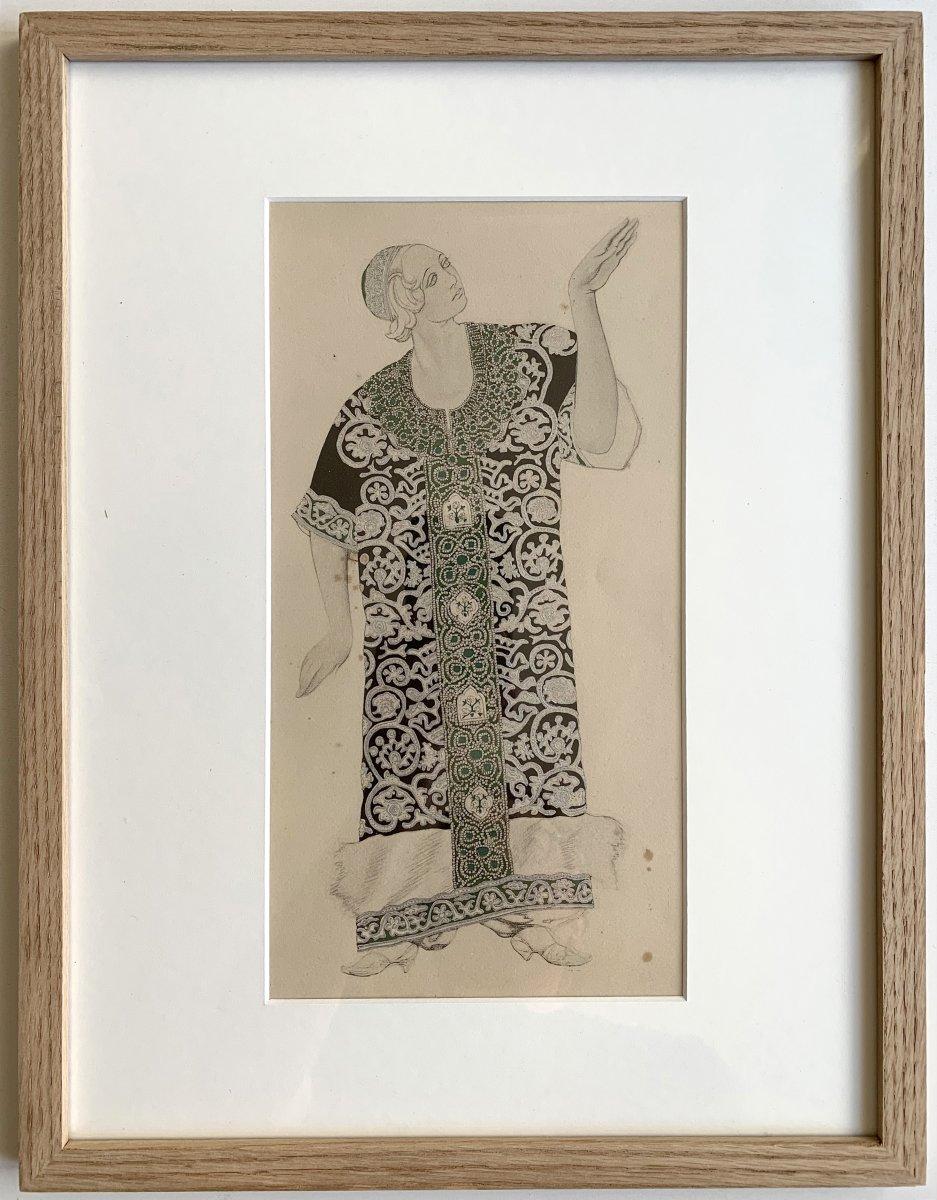 Leon Bakst - Costume For Ivan Le Terrible, 1911 - Enhanced Lithograph-photo-1
