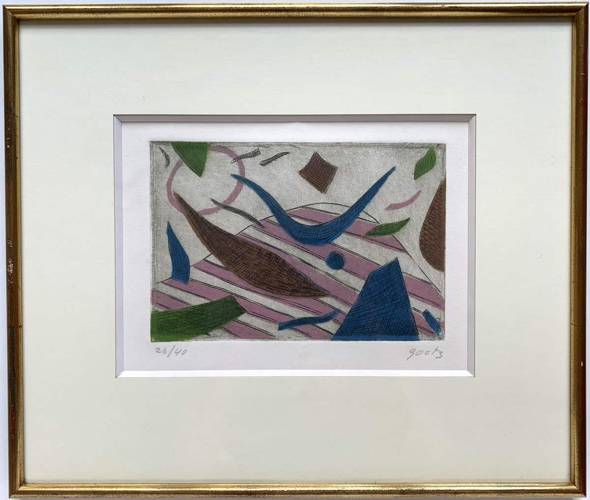 Henri Goetz (1909-1989) - Abstract Composition - Aquatint-photo-2