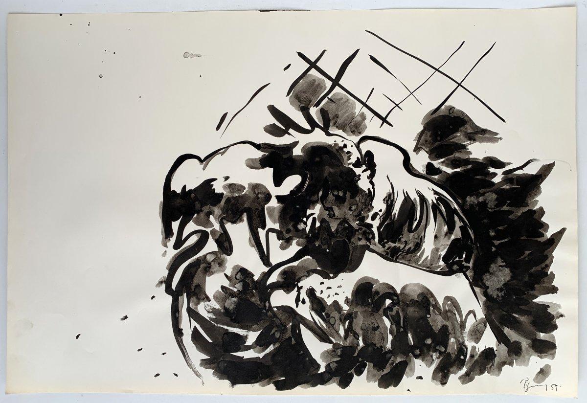 Edouard PIGNON (1905-1993) - Combat de coqs - Nouvelle école de Paris-photo-2