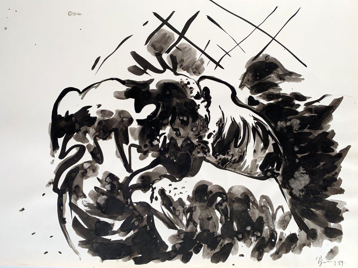 Edouard PIGNON (1905-1993) - Combat de coqs - Nouvelle école de Paris