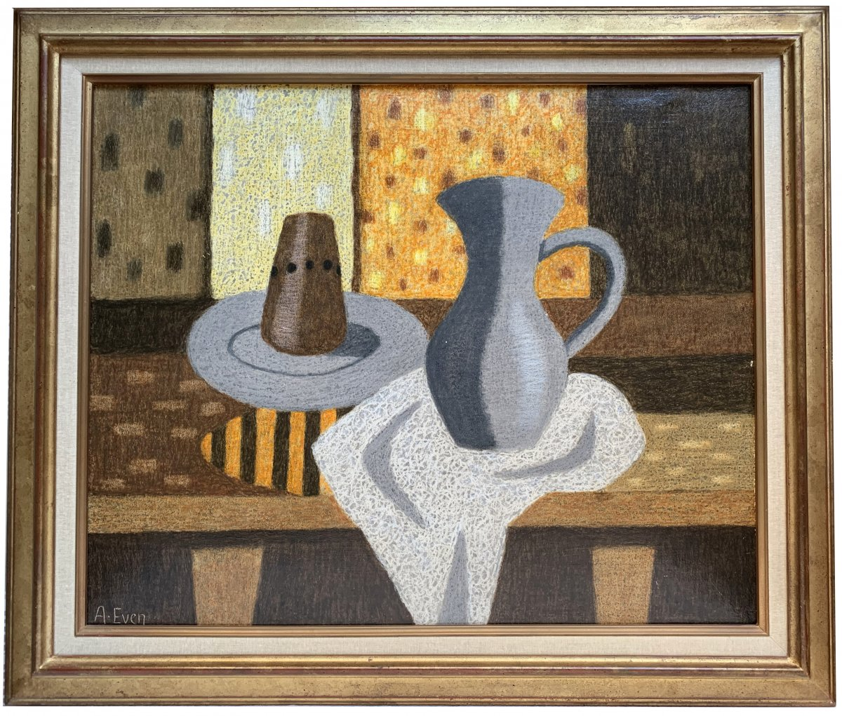 André Even (1918-1997) - Still Life With Pitcher - Signed Painting-photo-2