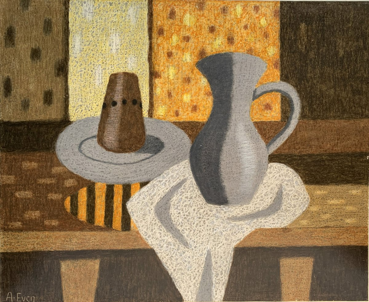 André Even (1918-1997) - Still Life With Pitcher - Signed Painting-photo-4