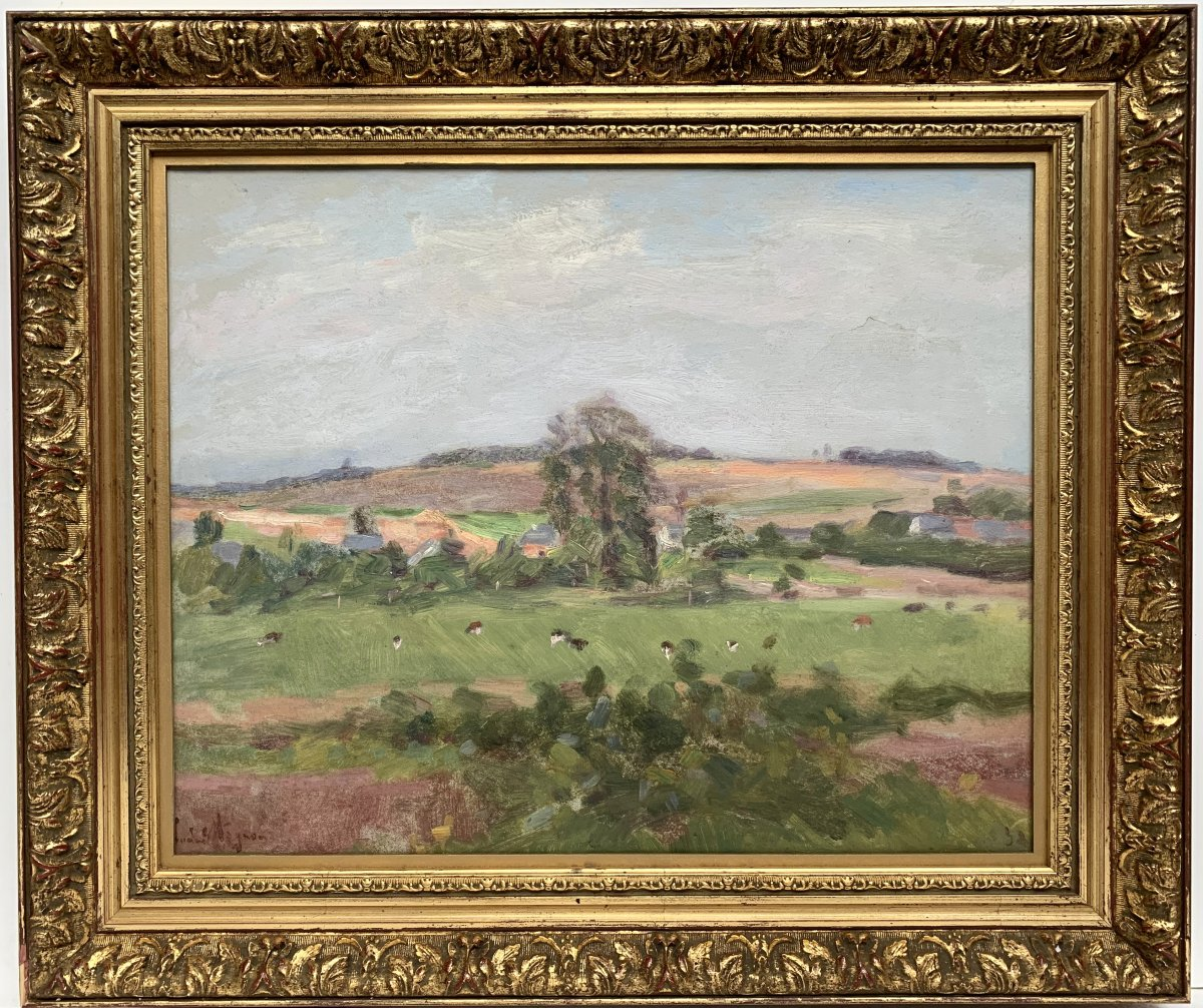 Lucien Mignon (1865-1944) - Impressionist Landscape - Oil On Canvas Signed And Dated 1938-photo-2