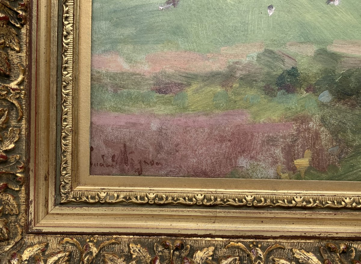 Lucien Mignon (1865-1944) - Impressionist Landscape - Oil On Canvas Signed And Dated 1938-photo-3