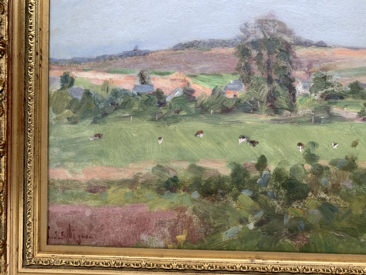 Lucien Mignon (1865-1944) - Impressionist Landscape - Oil On Canvas Signed And Dated 1938-photo-4