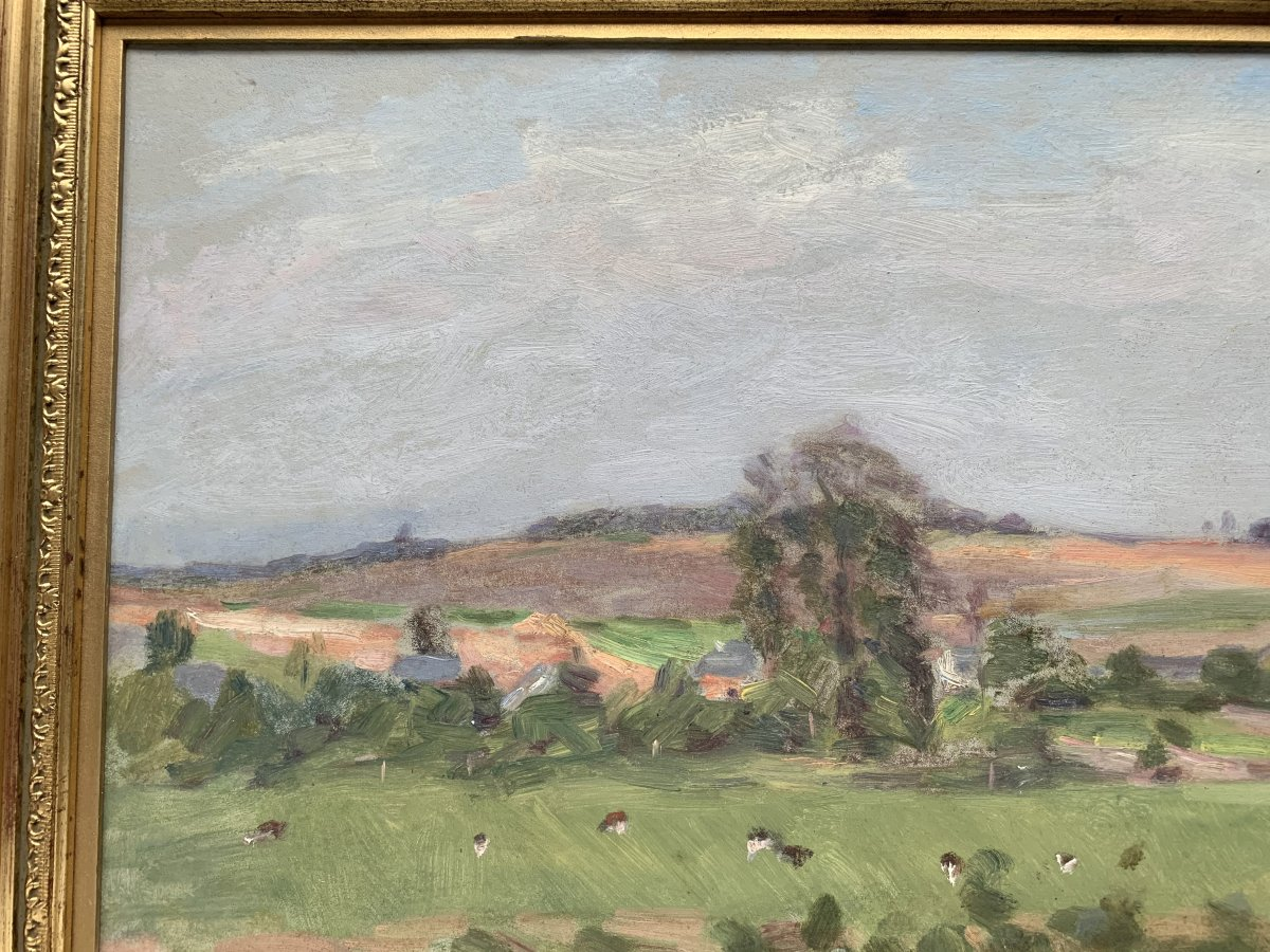 Lucien Mignon (1865-1944) - Impressionist Landscape - Oil On Canvas Signed And Dated 1938-photo-1
