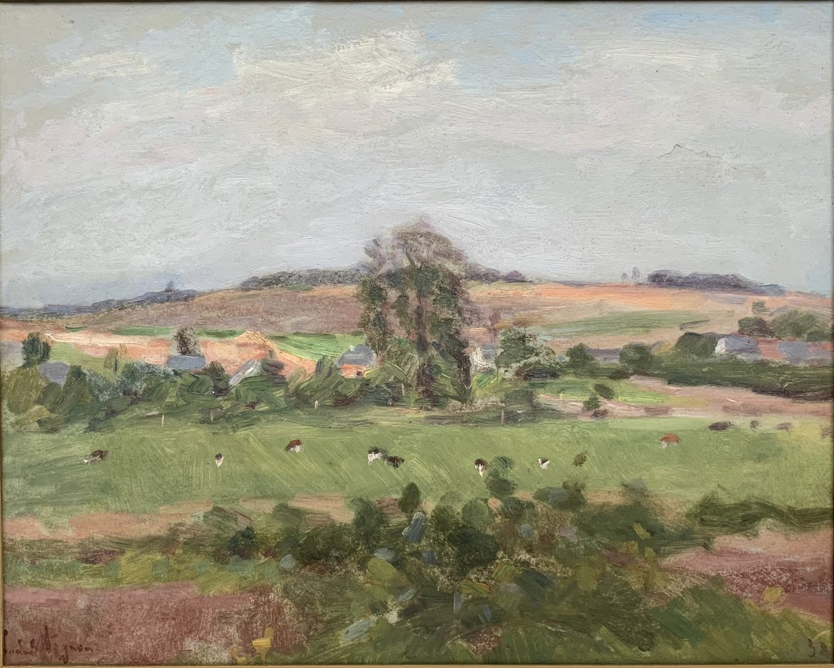 Lucien Mignon (1865-1944) - Impressionist Landscape - Oil On Canvas Signed And Dated 1938