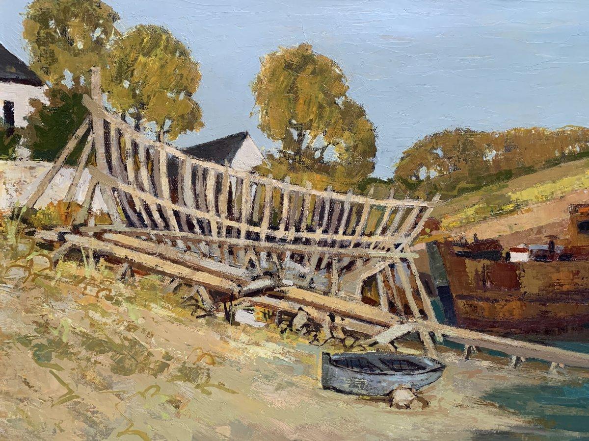 Jacques Gaston Moreau (1903-1994) - Marine - Shipyard - Oil On Canvas-photo-1