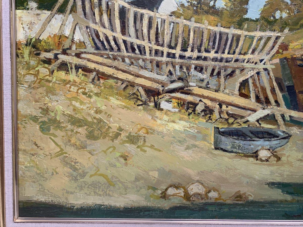 Jacques Gaston Moreau (1903-1994) - Marine - Shipyard - Oil On Canvas-photo-2