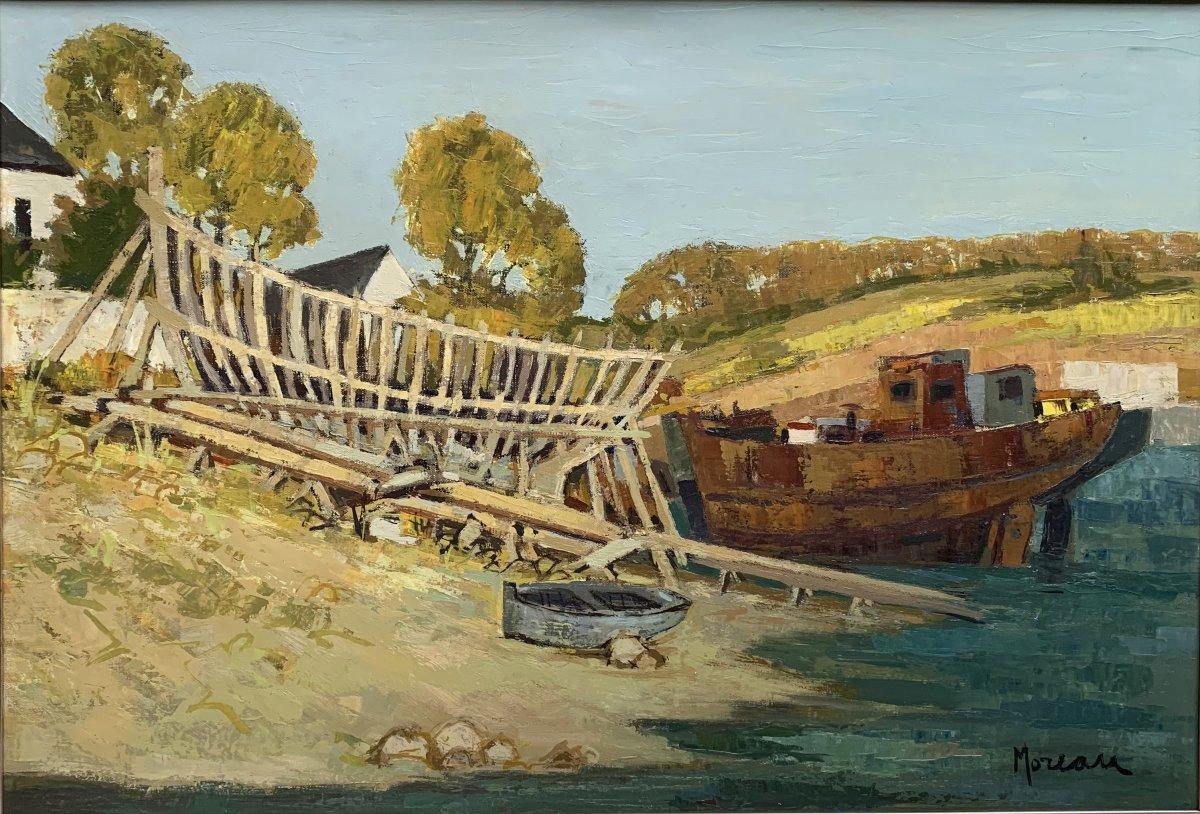 Jacques Gaston Moreau (1903-1994) - Marine - Shipyard - Oil On Canvas