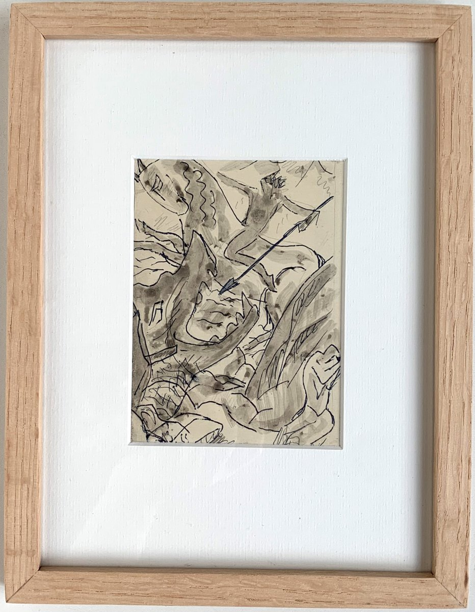 Adolphe Beaufrère (1876-1960) - Saint Georges Slaying The Dragon - Drawing-photo-2