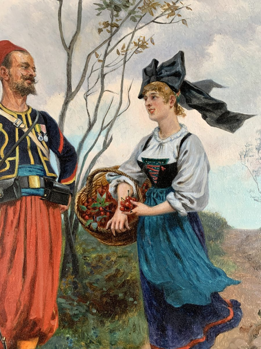 Paul Jazet (1848-1918) - Zouave And Alsatian - Oil-photo-1