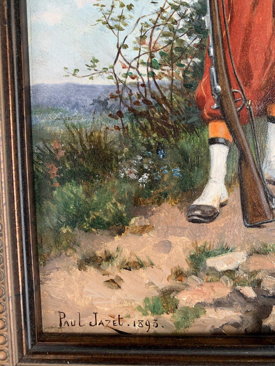 Paul Jazet (1848-1918) - Zouave And Alsatian - Oil-photo-2