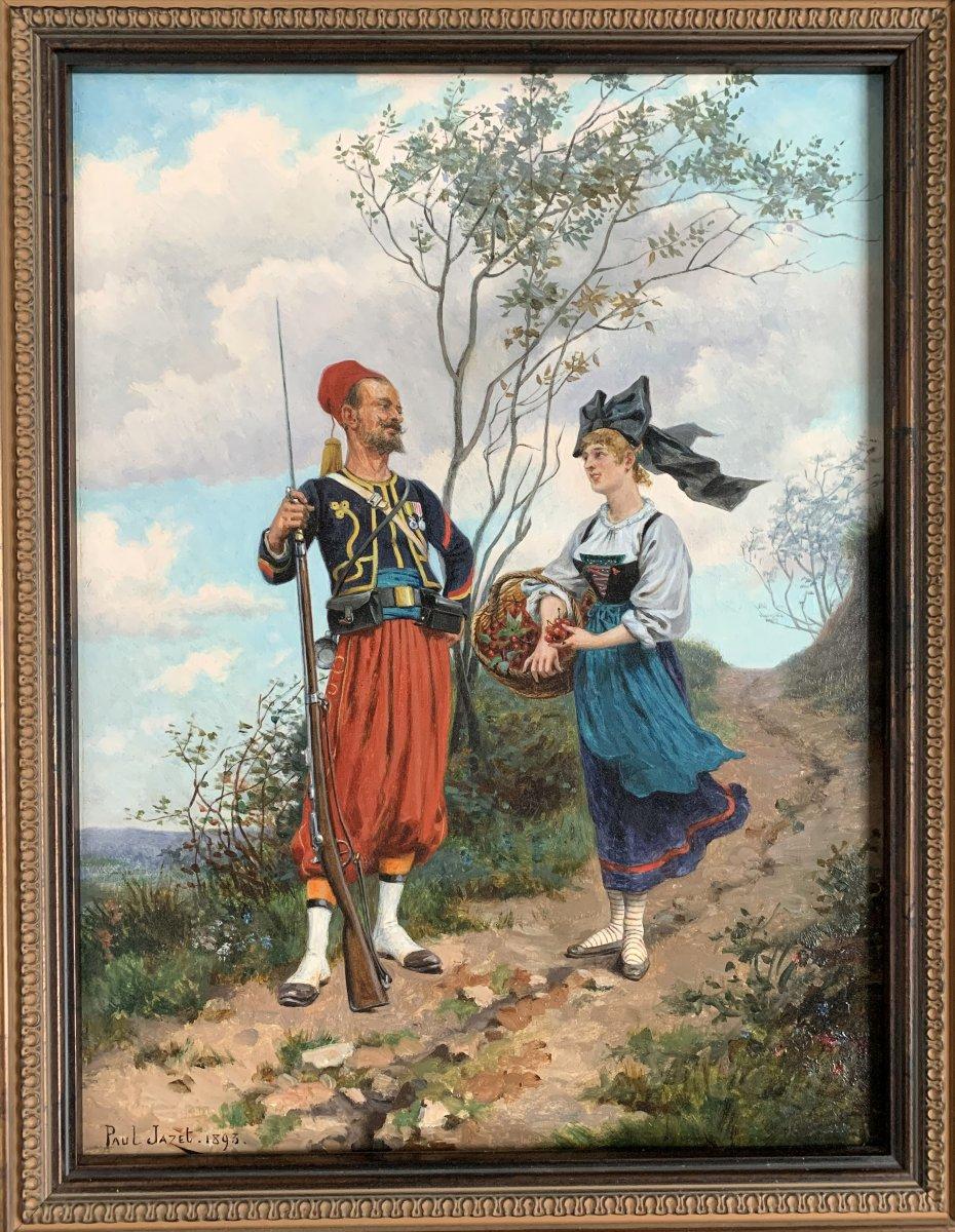 Paul Jazet (1848-1918) - Zouave And Alsatian - Oil