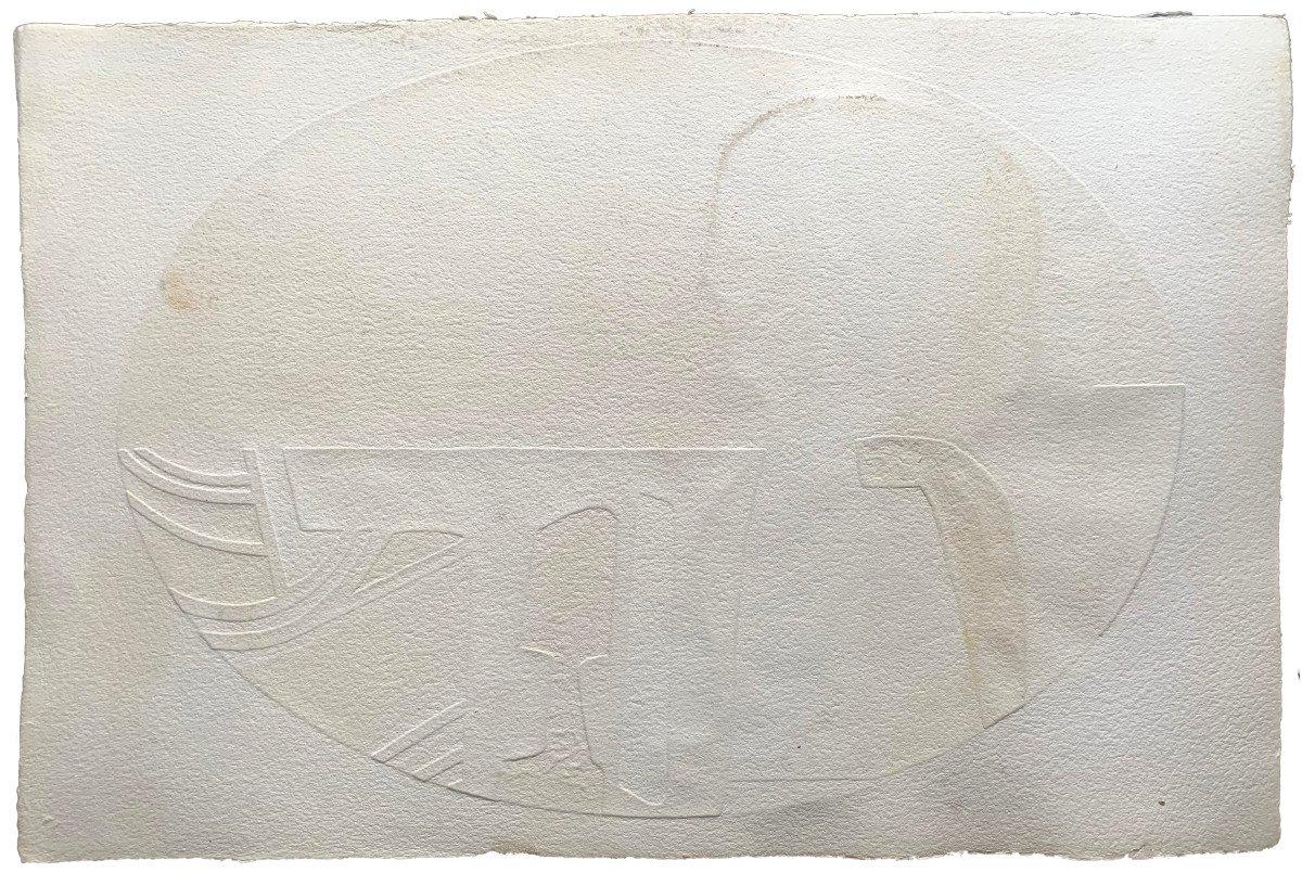 Max Papart (1911-1994) - Woman's Profile - Carborundum Engraving-photo-3