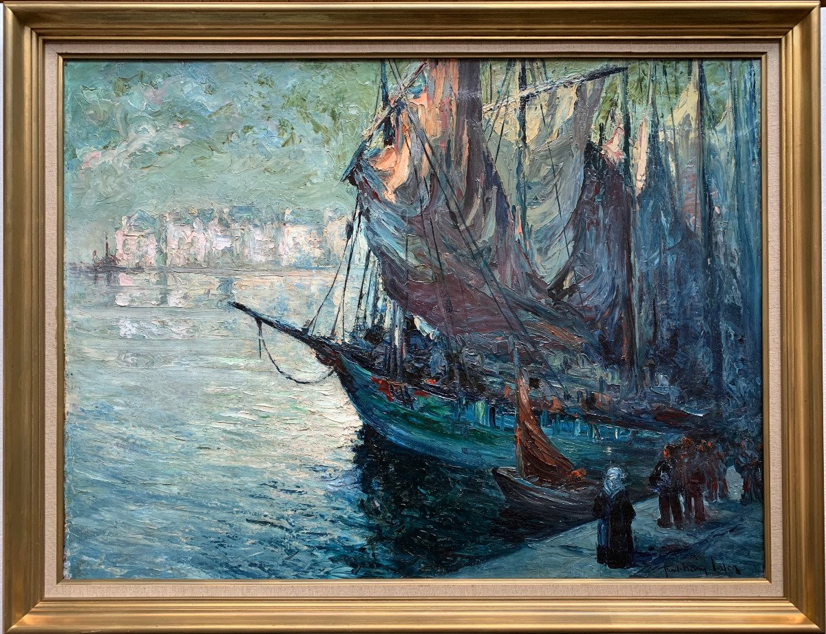 Departure Of Fishing In Audierne, Brittany, By Paul-henry Lafon - Oil On Canvas-photo-2