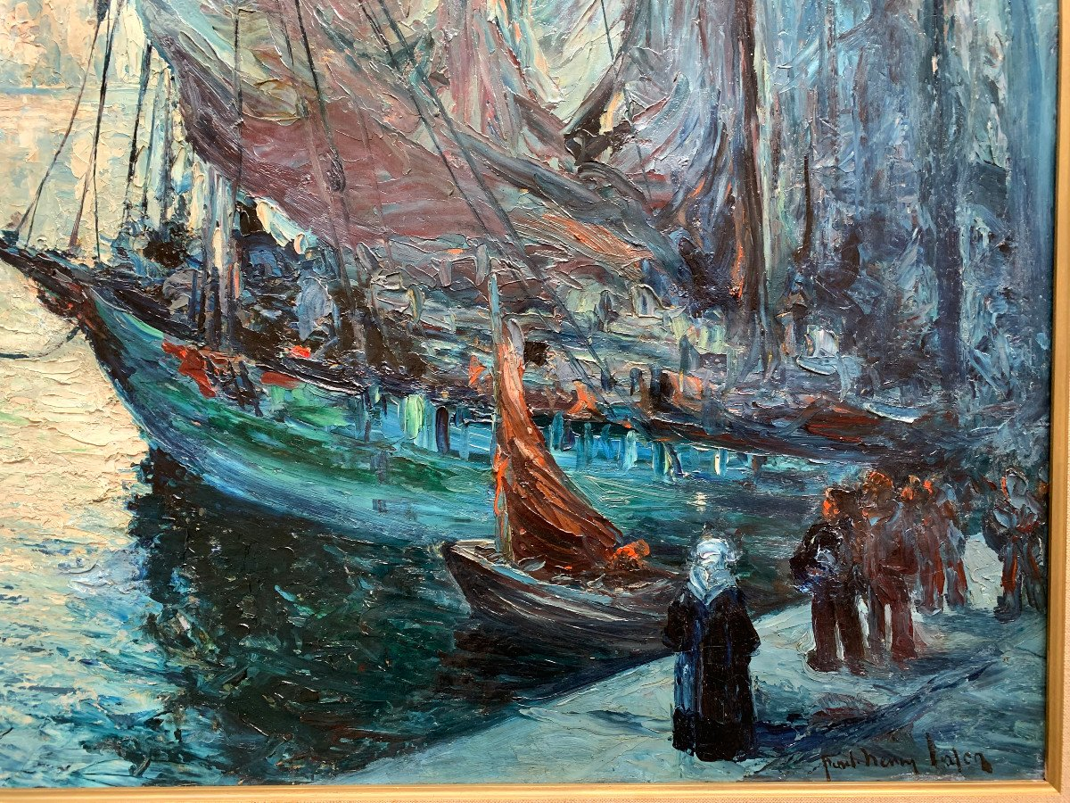 Departure Of Fishing In Audierne, Brittany, By Paul-henry Lafon - Oil On Canvas-photo-5