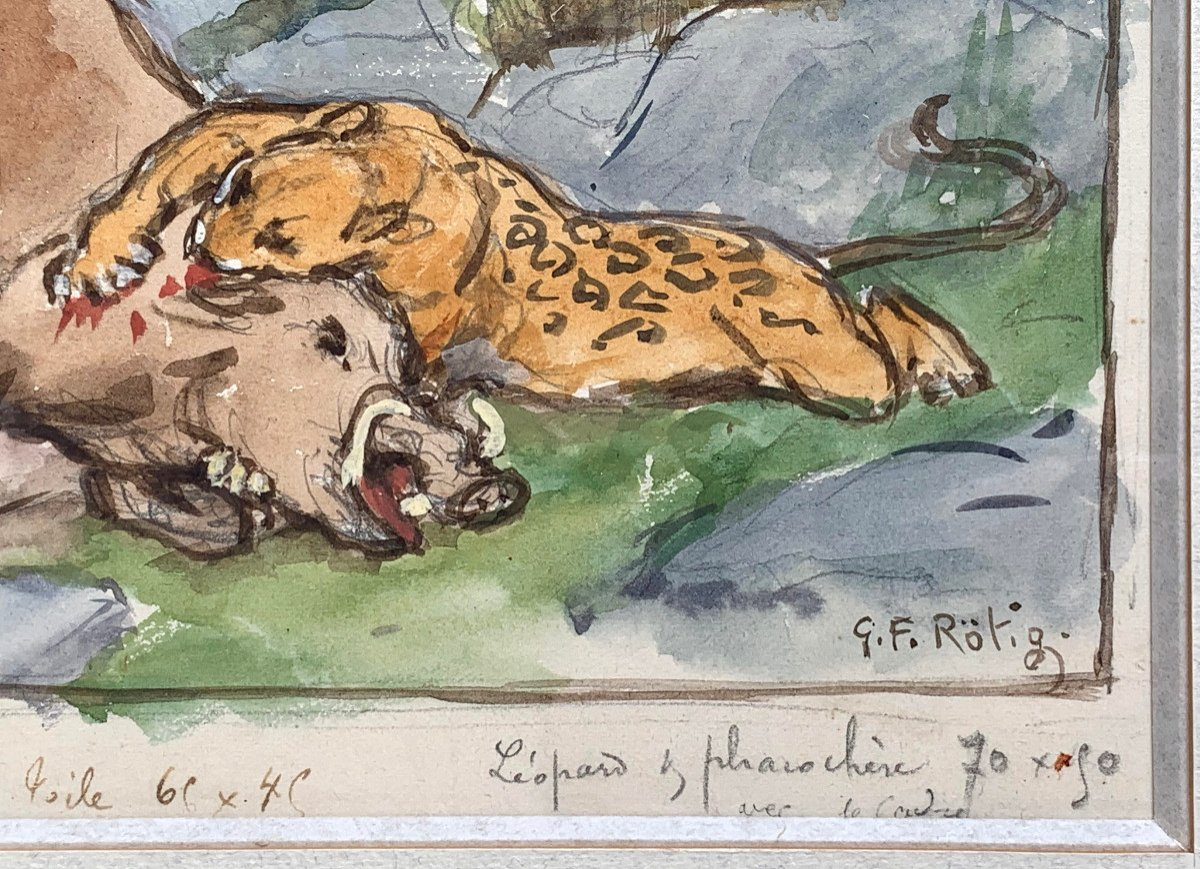 Georges-frédéric Rötig (1873-1961) - Signed Watercolor - Leopard And Warthog-photo-4