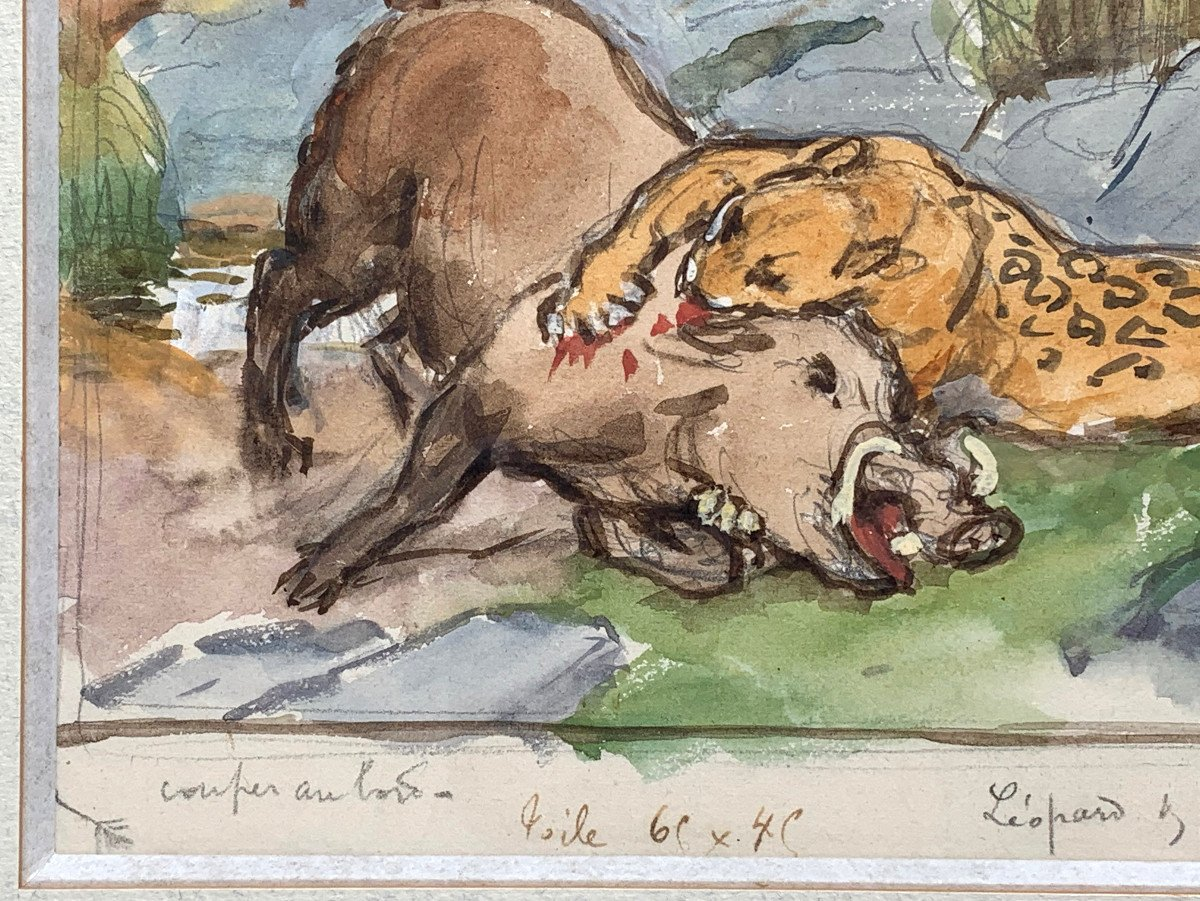 Georges-frédéric Rötig (1873-1961) - Signed Watercolor - Leopard And Warthog-photo-1