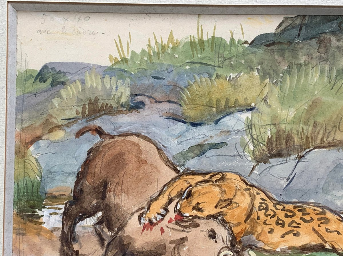 Georges-frédéric Rötig (1873-1961) - Signed Watercolor - Leopard And Warthog-photo-2