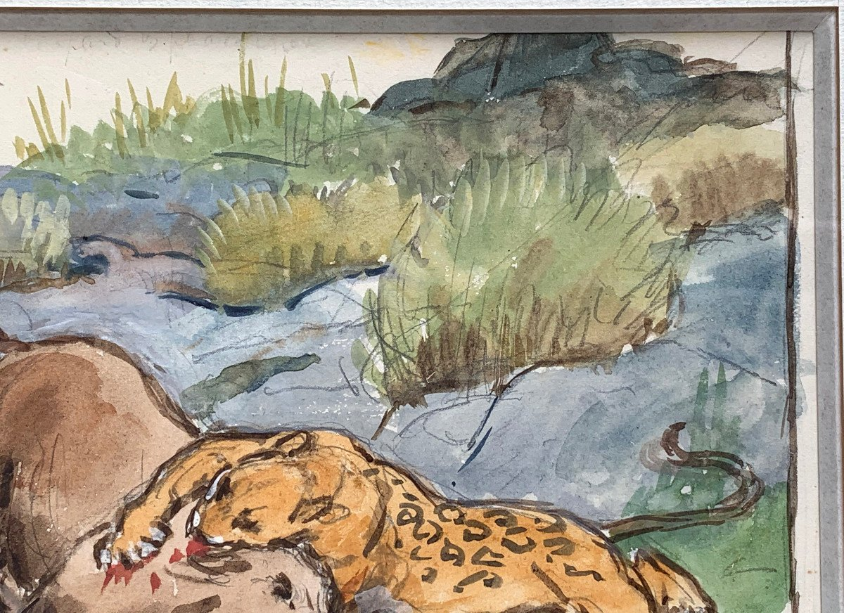 Georges-frédéric Rötig (1873-1961) - Signed Watercolor - Leopard And Warthog-photo-3