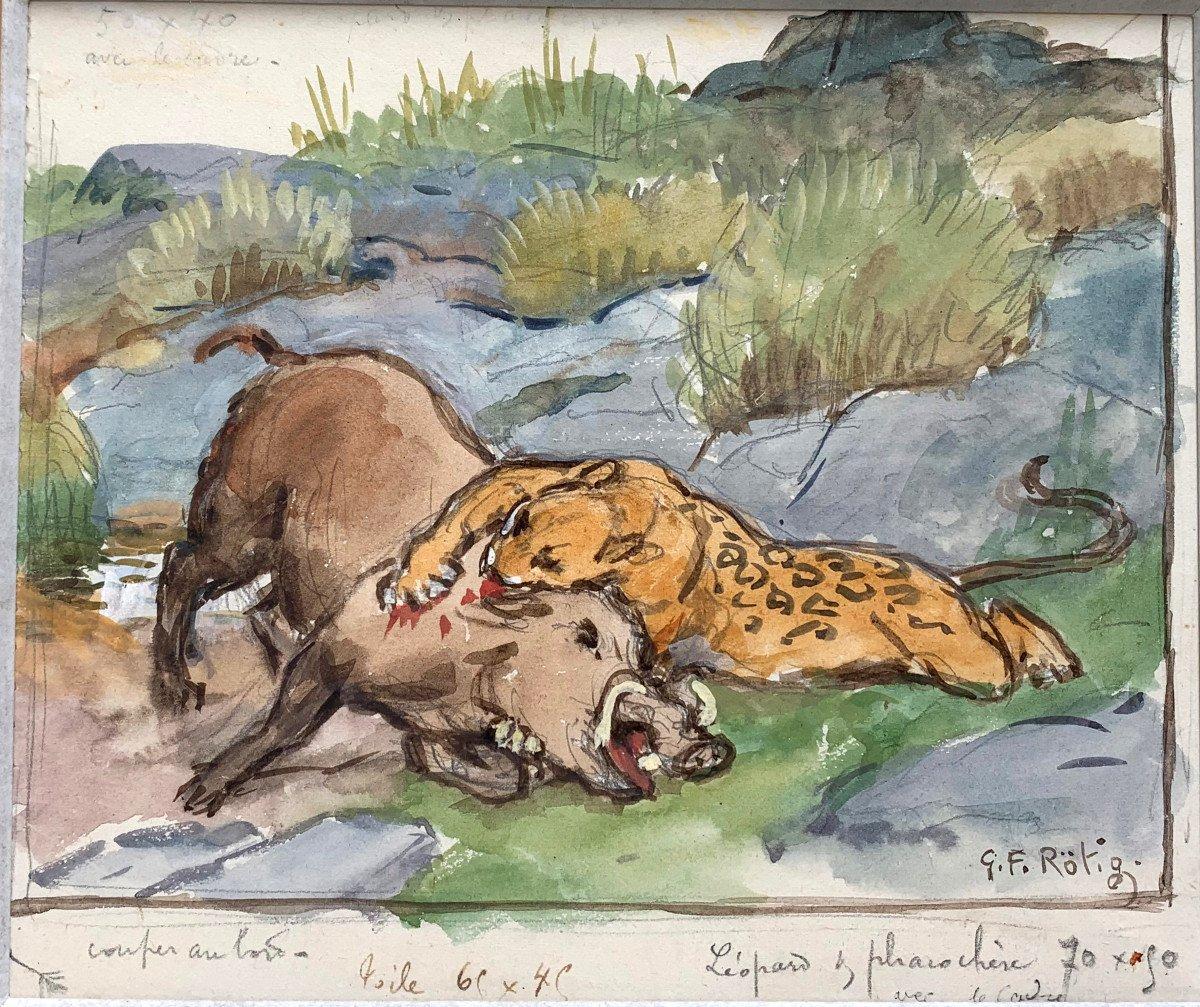 Georges-frédéric Rötig (1873-1961) - Signed Watercolor - Leopard And Warthog