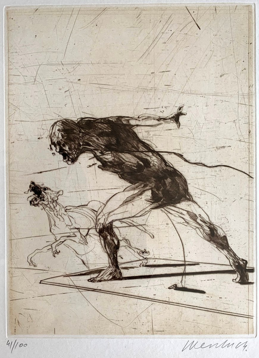 Claude Weisbuch - Cave Hominem - Color Engraving