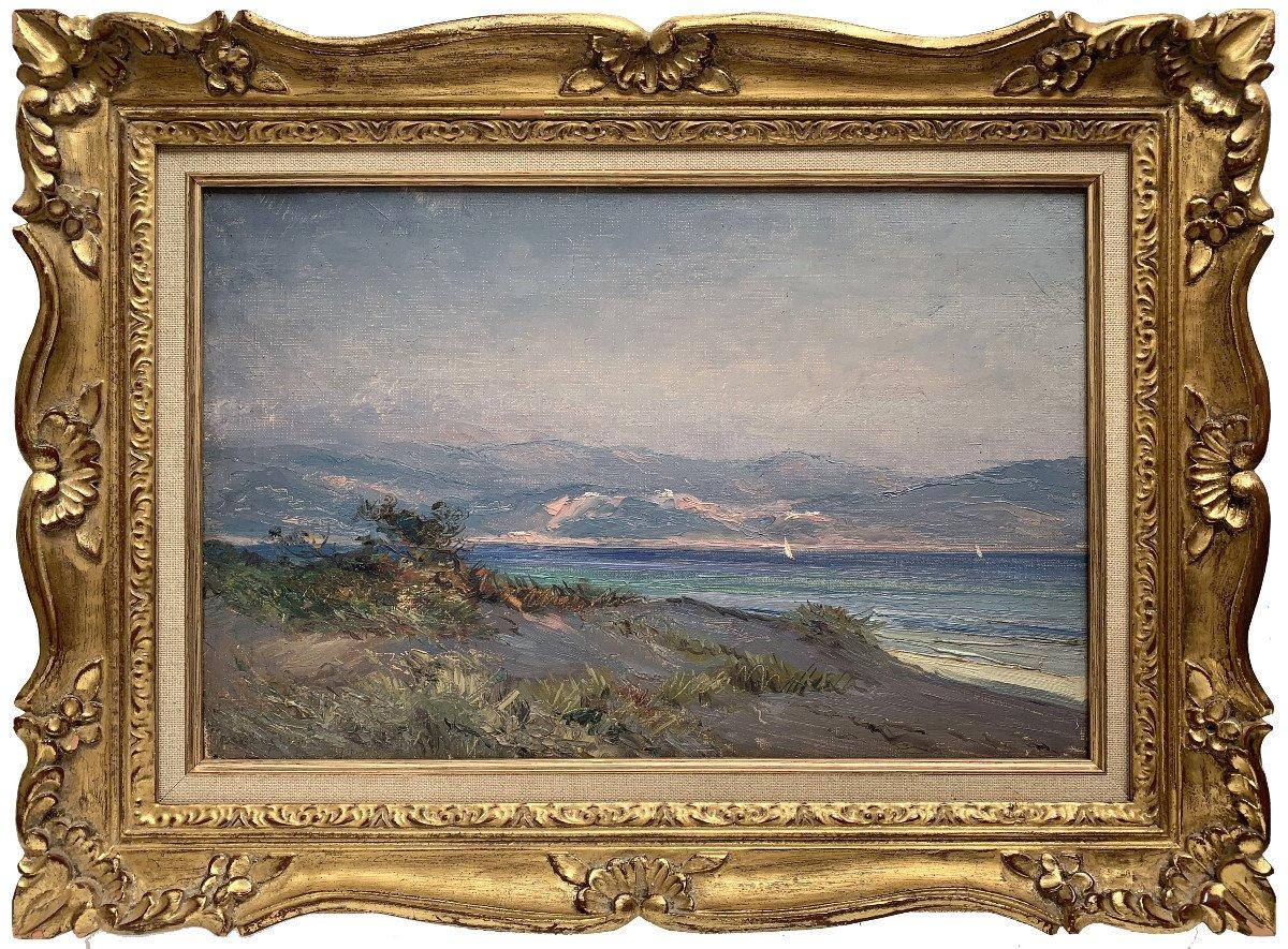 Emile Wegelin (1875-1962) - Sailboats On Lake Geneva - Oil On Canvas