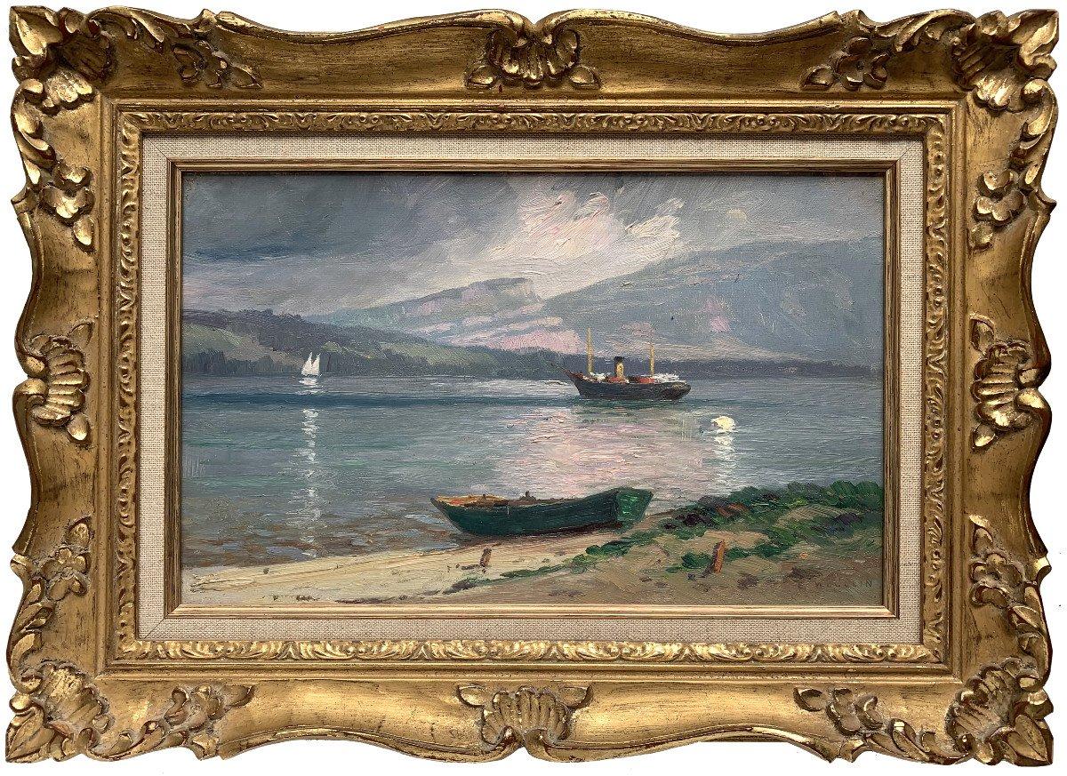 Emile Wegelin (1875-1962) - At The Edge Of Lake Geneva - Oil On Canvas