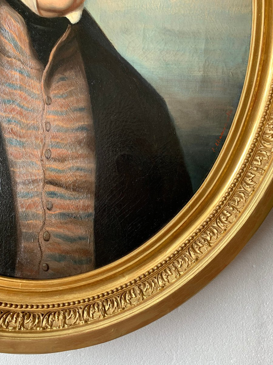 Portrait Of A Gentleman By Callande De Champmartin - 19th Century - Oil On Canvas Signed-photo-3