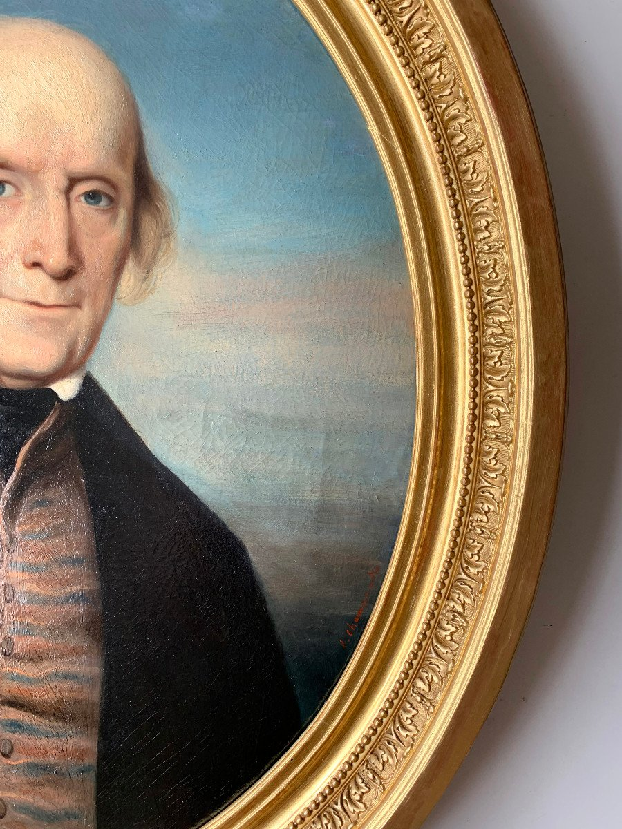Portrait Of A Gentleman By Callande De Champmartin - 19th Century - Oil On Canvas Signed-photo-4