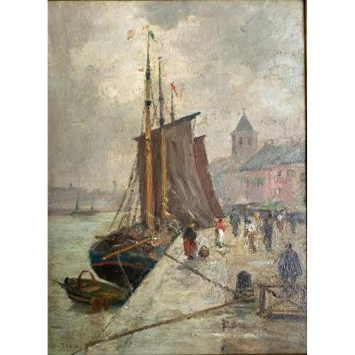 Paul Ortiou (1867-?) - Oil, Boat At Dock, Marine, Animated Harbour Scene