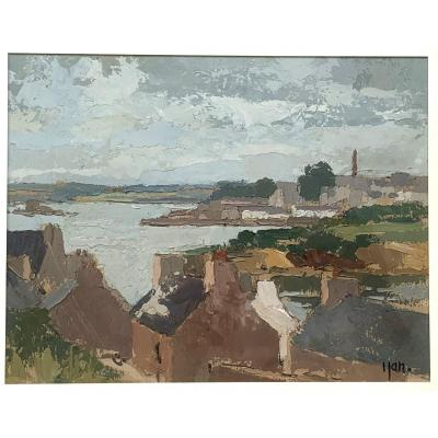 Robert Yan (1901-1994) - View Of Douarnenez, Brittany - Oil