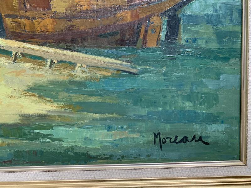 Jacques Gaston Moreau (1903-1994) - Marine - Shipyard - Oil On Canvas-photo-4