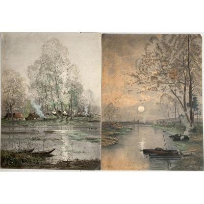 Marie-joseph Clavel Dit Iwill (1850-1923) - Pair Of Drawings 1890 - Landscape