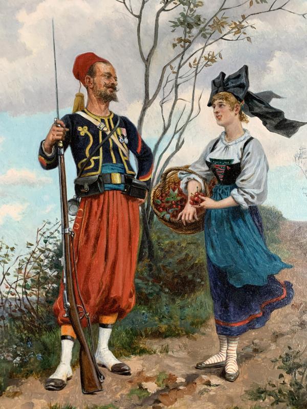 Paul Jazet (1848-1918) - Zouave And Alsatian - Oil-photo-3