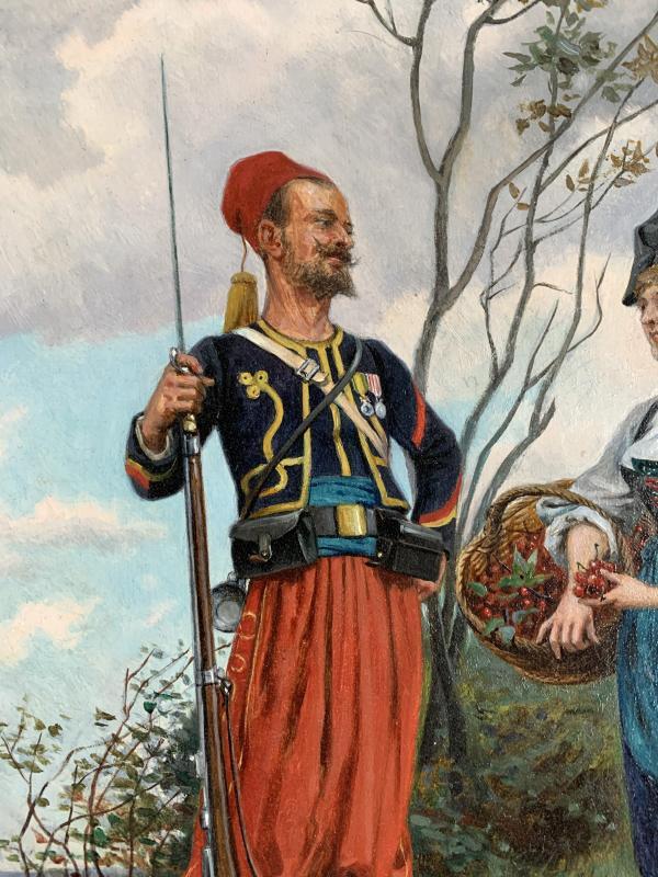 Paul Jazet (1848-1918) - Zouave And Alsatian - Oil-photo-4