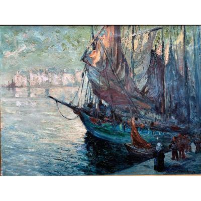 Departure Of Fishing In Audierne, Brittany, By Paul-henry Lafon - Oil On Canvas